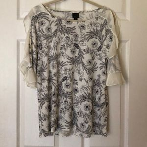 Worthington Cold Shoulder M Scrolly Floral NWT